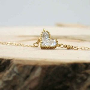 Gold Tiny Heart Cubic Zirconia Pendant Necklace